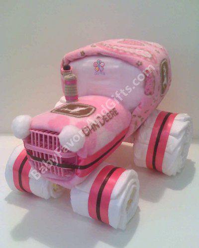 John Deere GIRL tractor diaper cake :)
