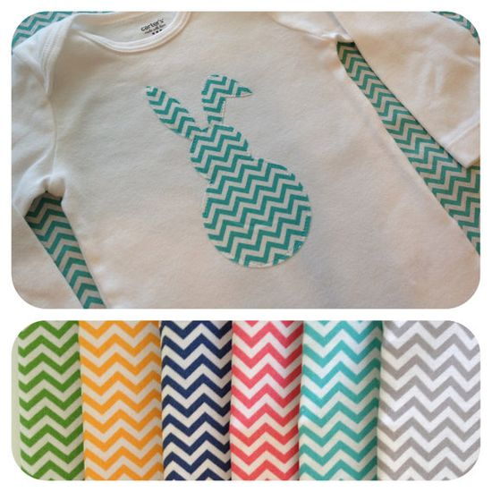 Easter baby outfit -  Chevron Easter Bunny Onesie or T-shirt - Baby Girl or Boy  Great outfit for First Easter. $10.00, via Etsy.
