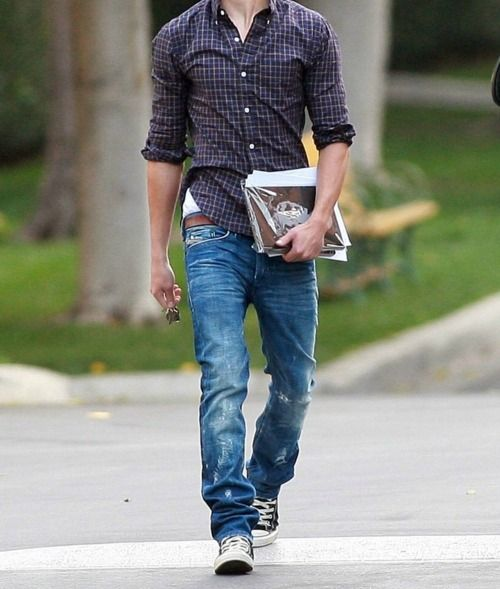 purple checkered shirt, blue jeans, converse