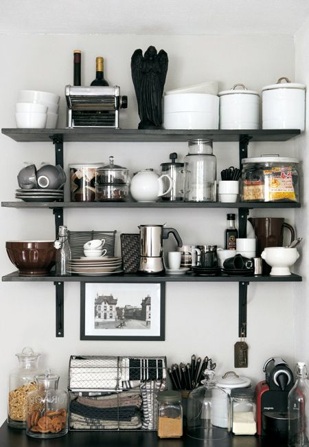 open shelving, kitchen