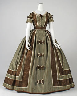 Dress, Evening - ca. 1866 - British - silk, brown & green