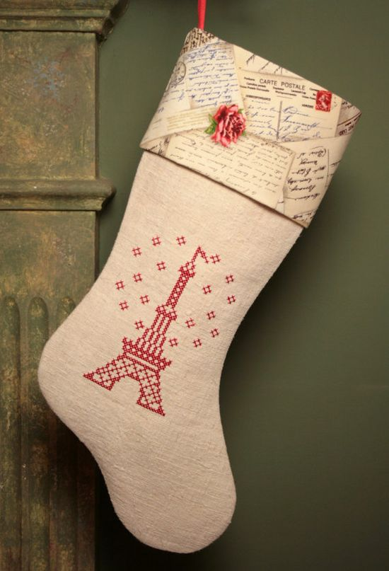 What a wonderfully lovely Eiffel Tower cross stitched Christmas stocking. #vintage #Christmas #crafts #stitchery #cross #stitch #French #shabby #chic #decor #decorations #sewing
