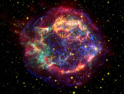 In 2007 NASA%u2019s Spitzer space telescope found the infrared signature of silica (sand) in the supernova remnant Cassiopeia A. The light from this exploding star first reached Earth in the 1600s. The cyan dot just off center is all that remains of the star that exploded.