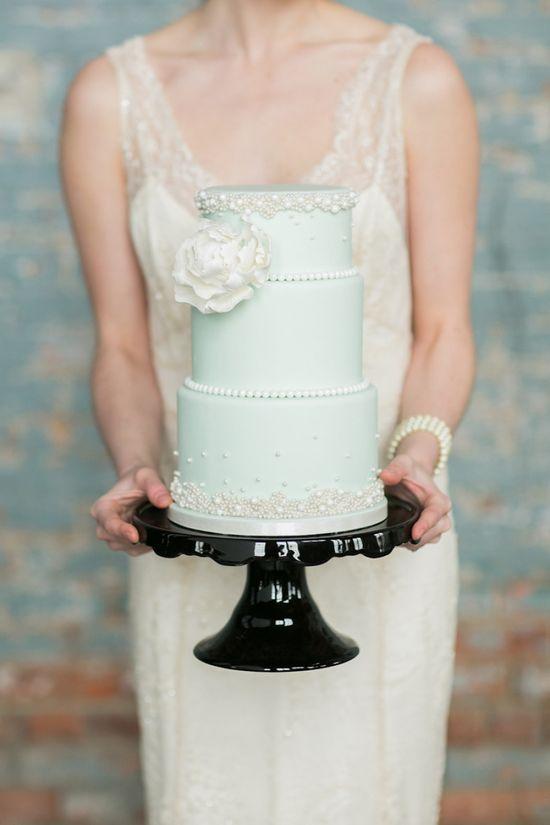 mint & white wedding cake
