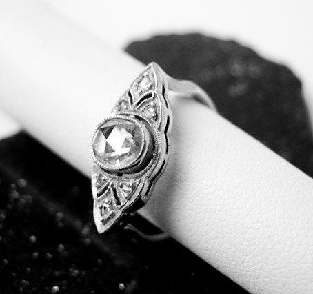 Antique Filigree Platinum & Rose Cut Diamond Ring 1905 Germany.