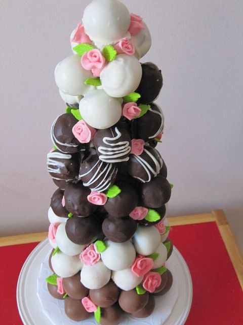 Immensely pretty floral adorned Cake Ball Tower. #cake #ball #tower #wedding #party #food #dessert #birthday #decorated #chocolate #pink #flowers