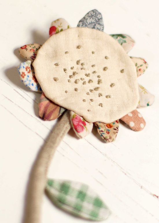 Vintage linen Faded Rose hand stitched brooch - just lovely