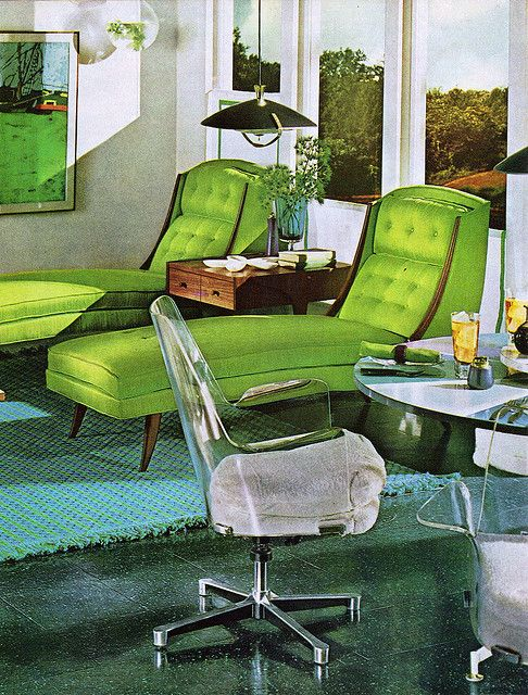 Practical Encylopedia of Good Decorating and Home Improvement, 1970   green lounge chairs
