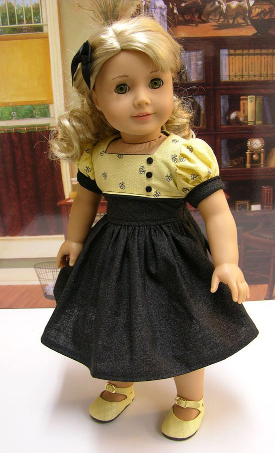 Black and Yellow Doll Dress.