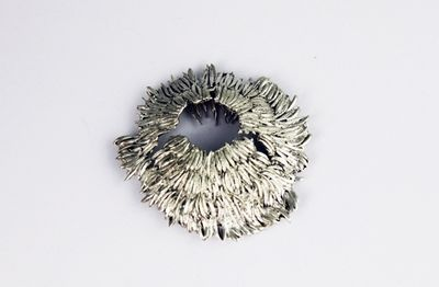 Huang Yuru  brooch made by cosmos flower seeds casting into white metal - Glasgow School of Art - at New Designers 2013