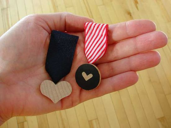wooden valentine medals made by Abbey Hendrickson