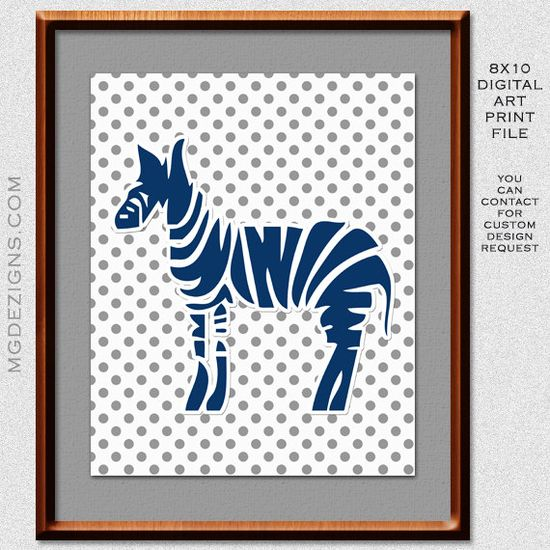 Printable modern Gray Blue zebra polka dots cute baby nursery art print