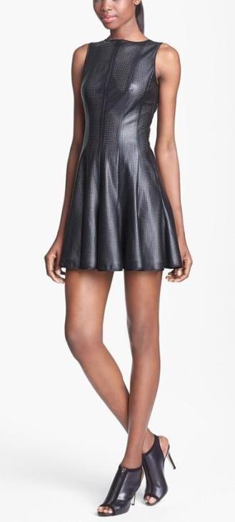Hot! Faux Leather A-Line Dress