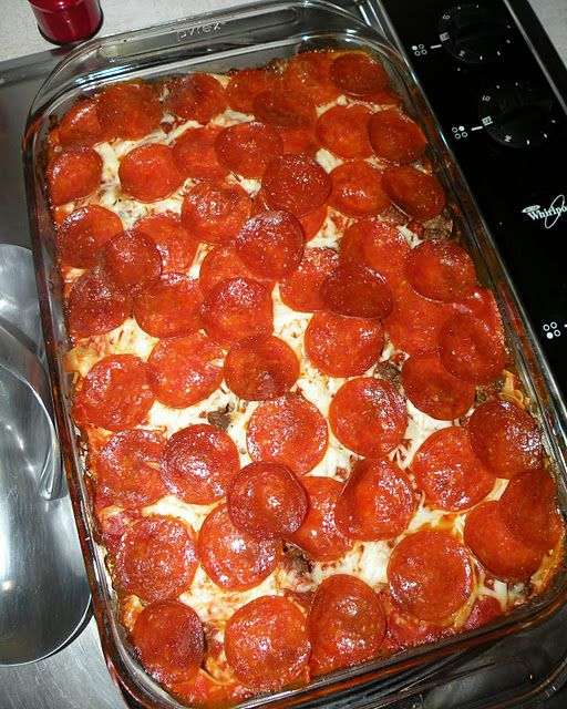 PIZZA CASSEROLE  Ingredients:  1 bag of Egg Noodles  1 extra large can of Ragu sauce   3 cups shredded mozzarella cheese   1 1/2 lbs hamburger meat  1 package pepperonis  layer 1/2 ingredients in 9x13 pan,  cover w remaining ingredients and top w/ pepperoni. Cover w foil.  Bake covered at 350' for 30 mins, remove foil, bake 15 mins more.