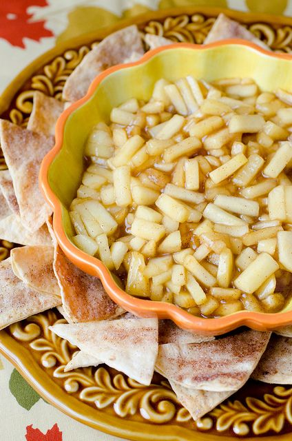 Apple pie dip with cinnamon tortila chips!