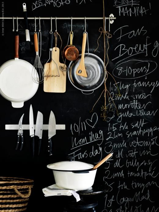 hanging kitchen rail, chalkboard wall