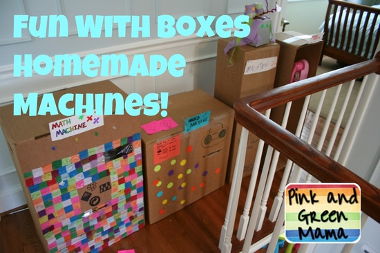 Pink and Green Mama: Cardboard Box Fun - Homemade Machines