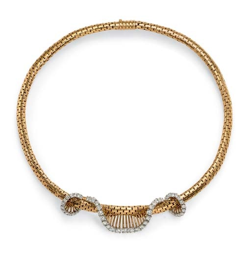 [More post-war funk] A RETRO DIAMOND AND GOLD NECKLACE, BY CARTIER   Designed as a braided flexible 18k gold collar, centering upon a circular-cut diamond garland, circa 1950, 15¾ ins.  Signed Cartier, France