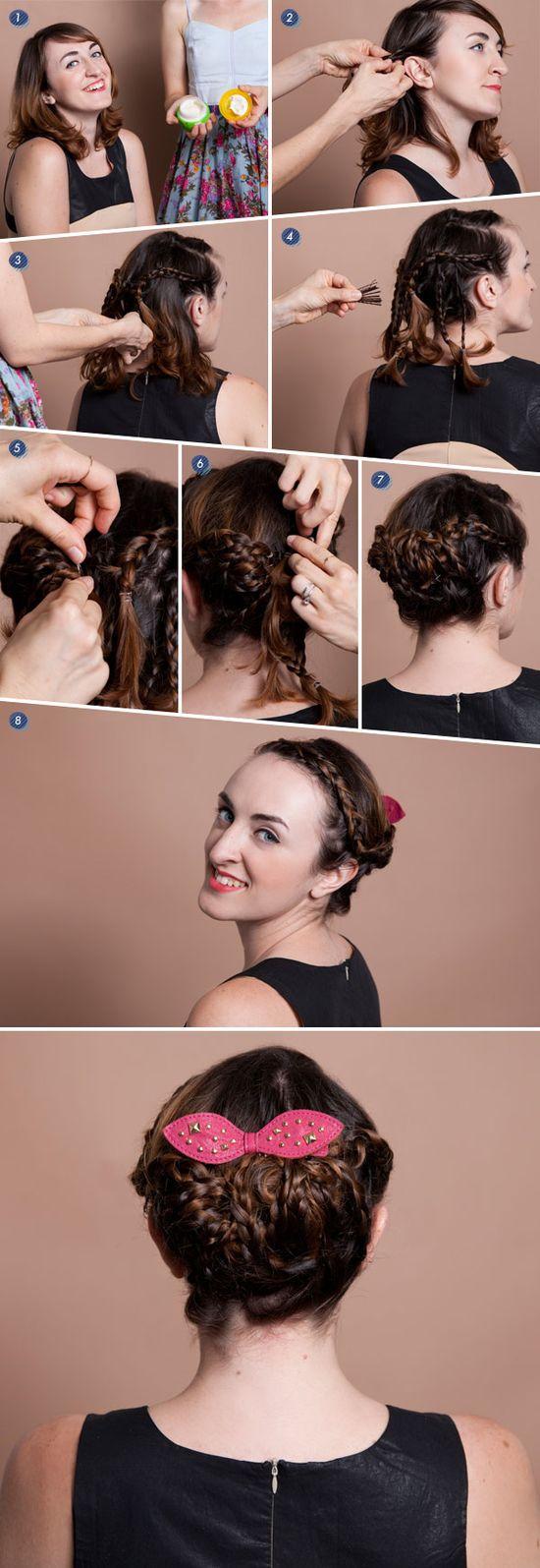 Create a braided updo for short hair using texturizing balm, mini clear elastics, bobby pins, and hairspray. #beauty