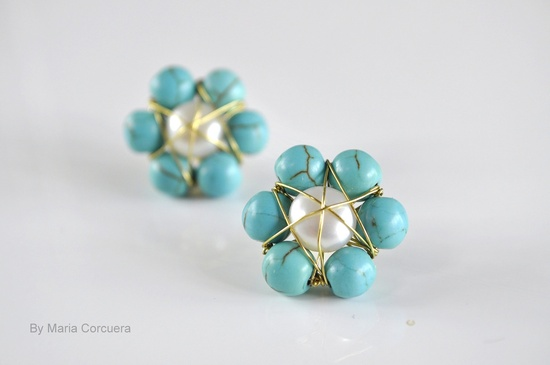 Aqua and Pearl Flower Post Earrings. $40.00, via Etsy.