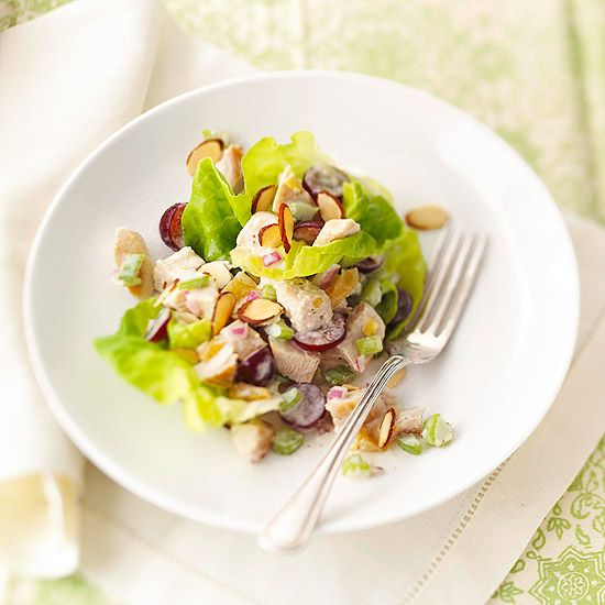 Love salads like this that include lots of little extras like grapes and almonds. (Tangy Chicken Salad with Mango Chutney.) #salad #almonds #grapes #mango #chutney #food #cooking #dinner #meals #chicken #meat