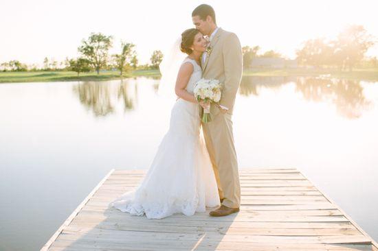 Sunset wedding photo on the dock.