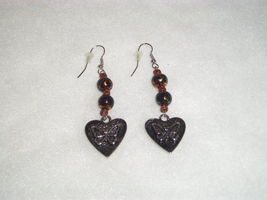 Handmade EARRINGS HEARTS  BUTTERFLIES with by ShopOfCraftsByMyrna, $5.50