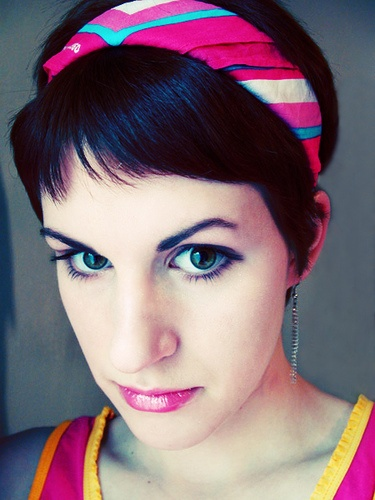 Boldly colored hair accessory - pretty.