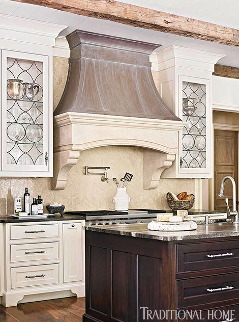 Kitchen Cabinets with Leaded Glass-Front Doors - Traditional Home®