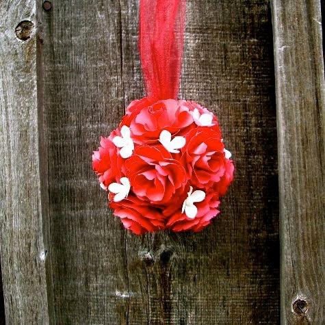 Handmade paper flower pomander