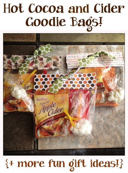Hot Cocoa and Cider Goodie Bags + more fun gift ideas!! ~ at TheFrugalGirls.com #diy #gifts