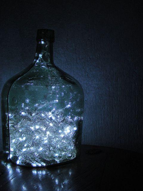 LED Christmas lights in a bottle