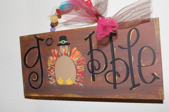 Thanksgiving Sign Gobble Gobble by Cutipiethis on Etsy,