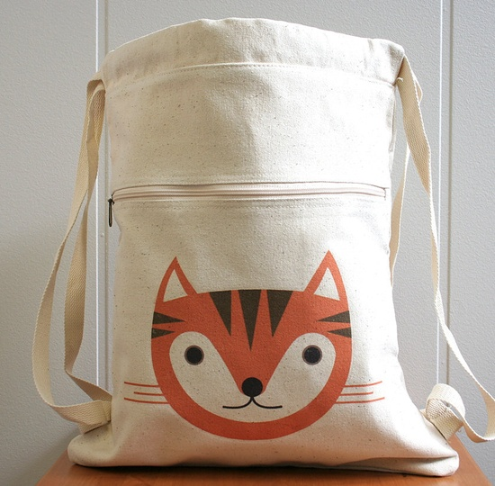 Canvas backpack, cat