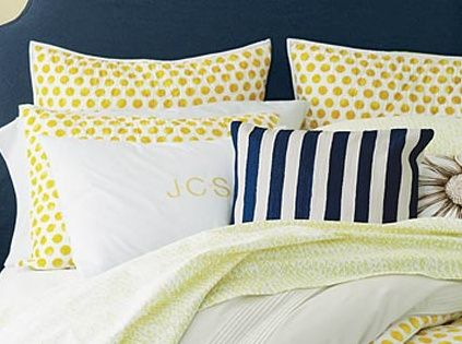 Sunshine and pearls - yellow and navy bedroom