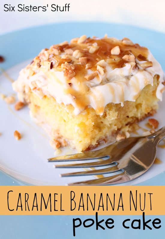 Caramel Banana Nut Poke Cake from SixSistersStuff.com.  A combination of my husband's favorite poke cake and banana cream pie.  Pure heaven! #dessert #cake #pokecake