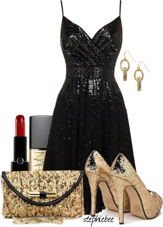 """Golden LBD"" by stephiebees on Polyvore"