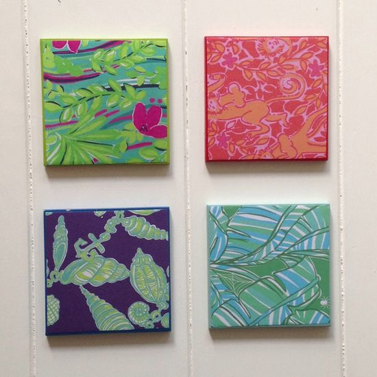 Cut out old Lilly Pulitzer agenda pages and used mod podge to make coasters on old tiles.