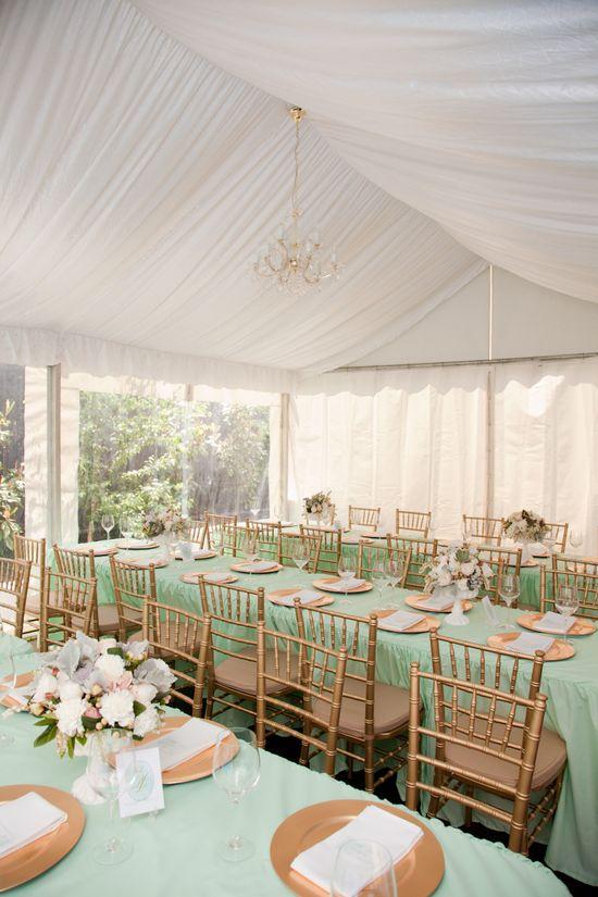 Mint + Gold Wedding Hues ~ Tablescape #mint + #gold #floral #centerpieces #wedding @WedFunApps wedfunapp.com ?'s