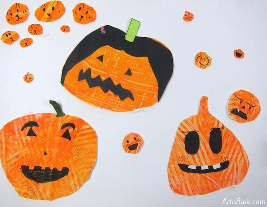 Halloween Pumpkin Painting Art Project for 1st Grade
