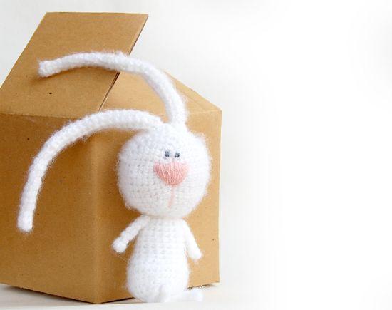 White rabbit crochet toy bunny natural eco toy for children. $24.00, via Etsy.