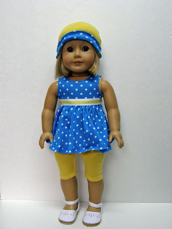 American Girl Doll Clothes - tunic, capri leggings, and hat  - 18 inch doll clothes
