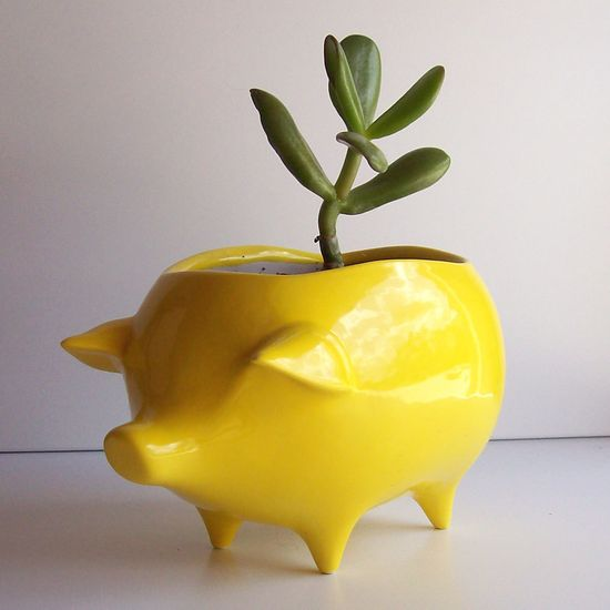 Ceramic Pig Planter Vintage Design in Lemon Yellow by fruitflypie, $34.00