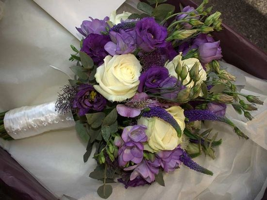 Purple and ivory country flower bouquet