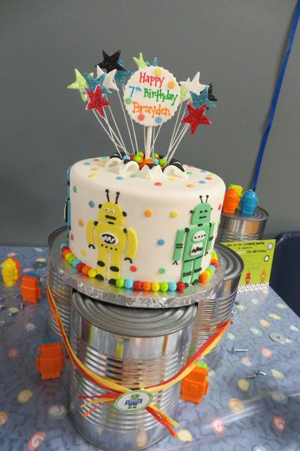 Cake from a Robot Party #robotparty #cake