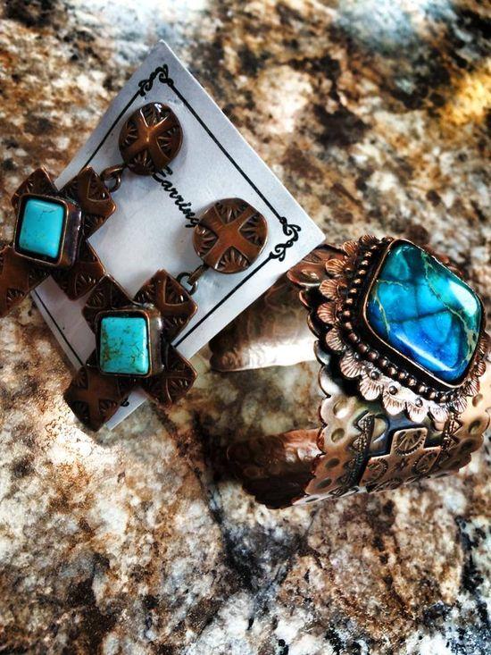 B Elegant handmade earrings and matching cuff!