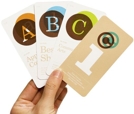 alphabet flashcard business cards by Michael Braley for Colin Corcoran