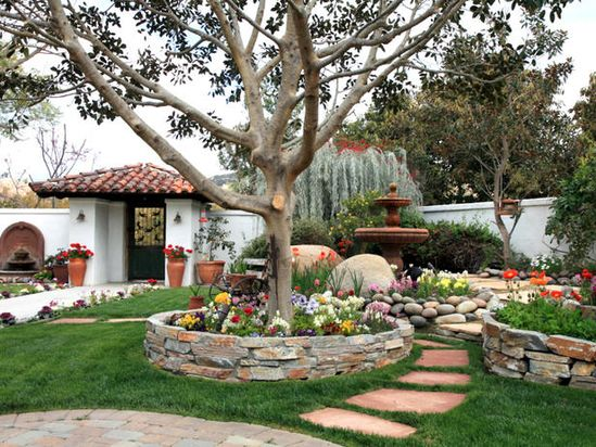 create pathways and rock edged beds