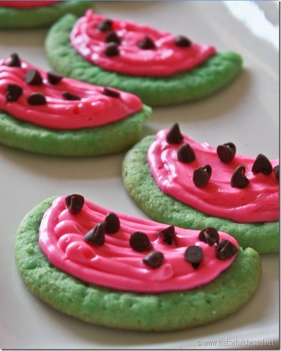 Watermelon Sugar Cookies so cute for a picnic for the 4th of July