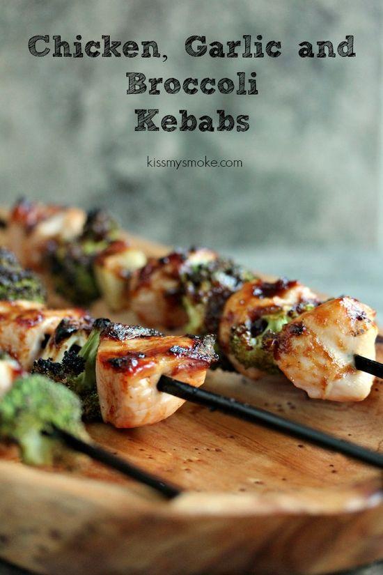 Chicken, Garlic and Broccoli Kebabs